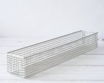 Wire Basket Long Rectangular Industrial Vintage Large Metal industrial Basket Metal Box