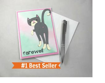 Farewell Card, Cat Butt Card, Goodbye Card, Paper Handmade Card, Cat Card, Funny Goodbye Card, Farewell Gift, Best Selling Items