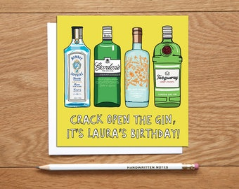 Personalised Gin Birthday Card - gin lovers card - happy birthday card - gin drinking card - gin greetings card - alcohol birthday card