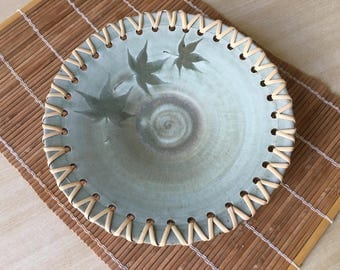 Handmade Ceramic Maple Print Serving Plate with Cane weave