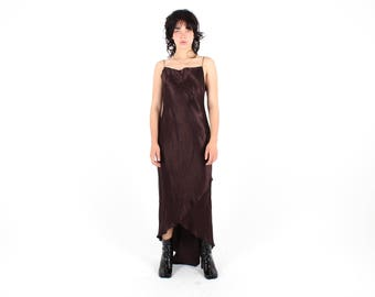 90s Deep Burgundy / Almost Black Oil Slick / Iridescent / Minimal Metallic Cami / Slip / Spaghetti Strap Formal Cocktail Dress by Studibaker