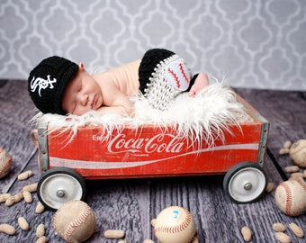 Baby Chicago White Sox Outfit Uniform Set - Hat, Pants - Knitted / Crochet - Baby Gift / Photo Prop - Baseball - Newborn Size Only