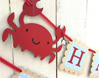 Crab Birthday Banner/Nautical Birthday Banner/ Crab Party Banner/ Blue polka dot/ red/ Summer Party Package