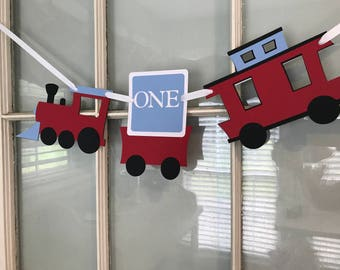 Train high chair Banner/ Red/ Light Blue/ Train party decor/Age/ Customized in any Color Combination/ One/highchair banner