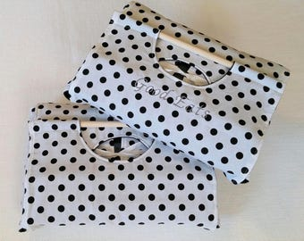 White Black Dot 9x13 Dish Carrier - FREE Shipping - Can be Personalized, American Made
