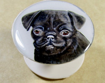 Black Pug Cell Phone Grip, Pug Cell Phone Holder, Pug Cell Phone Stand, Pug Mom Gifts, Pug Dad Gifts, Pug Lovers Gifts, Gifts with Pug