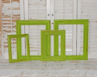 lime green frames 4 distressed shabby country chic picture frames open frames - Distressed Picture Frames