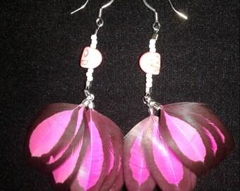 Pink skull feather earrings