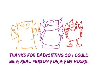 Babysitter Thank You - Exhausted mom feels like a real person again - Note Cards - Set of 5