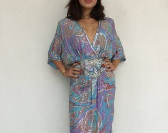 Gorgeous lux 80s designer Judith Ann watercolor silk sequin beaded batwing party dress
