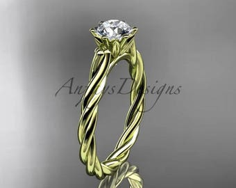 14kt yellow gold rope engagement ring RP835
