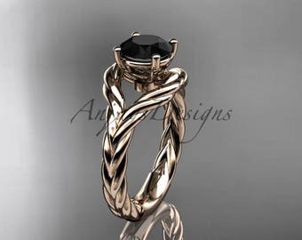 14k rose gold Black Diamond twisted rope engagement ring RP8125