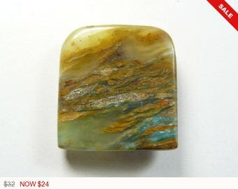 Peruvian Opal Cabochon, 30x32x6mm, designer cabochon, gemstone cabochons, flat back cabochons, natural stone cabochons (po2972)