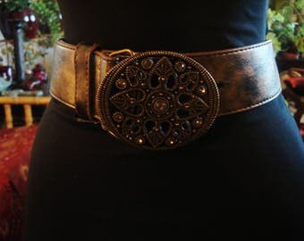 Bronze 1990s Boho Faux Leather Belt with Crystal Embellished Hardware