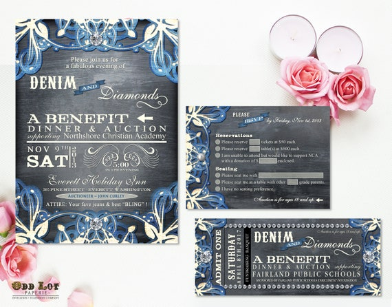 Denim Wedding Invitations: Denim And Diamonds Event Invitation And RSVP Printable Party
