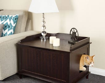Solid Wood Premium Pine Litter Box And Sofa Table Together*for Your Kitty*It