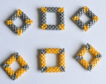 Grey and Yellow Square Bead Woven Stitch Markers Beaded Beads Knitting Notions Knitting Jewelry Gifts for Knitters