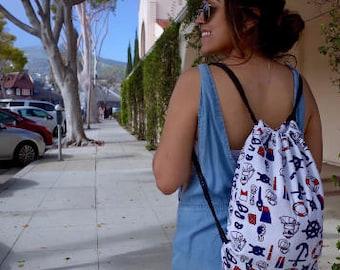 Drawstring Backpack backdrop, sports bag, yoga gym bags, draw string backpack, back to school backpack, unique gifts, yoga bags, handmade