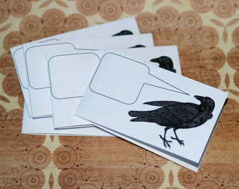 NEVERMORE . Set of 5 Raven Mini Notecards Edgar Allen Poe Captioned Critters Quirky Gift Cards Small Folded Cards Business Card Size