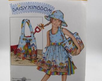 Daisy Kingdom UNCUT Girl's Dress, Beach Bag and Hat Pattern, Simplicity Daisy Kingdom Sewing Pattern, Girls 3,4, 5, 6, 7, 8  Dress Pattern