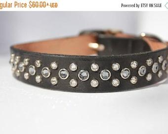 "ON SALE 16-19"" Leather Dog Collar with Black Diamond Swarovski Crystals"