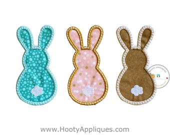 Bunny Trio Easter iron on patches for kids clothing, machine embroidered iron on fabric Easter applique for boys and girls, ready to ship