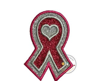 ON SALE NOW Glitter awareness ribbon- Iron on embroidered fabric applique patch embellishment- ready to ship