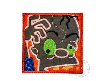 ON SALE NOW Zombie in a block iron on applique- no sew machine embroidered Halloween patch- Crazy undead-Diy boutique fashions- ready to shi