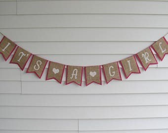 IT'S A GIRL Rustic Burlap Banner - Baby Shower Party Decor Shown in Dark Pink and White