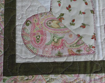 A mothers heart table runner,  hearts runner,  hearts table topper, Easter table runner, Mothers day table topper,paisley heart, colorful