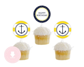 INSTANT DOWNLOAD Nautical Cupcake Toppers (Yellow Anchor Party, Nautical Baby Shower, Printable Party Circles, Boys Nautical Party)