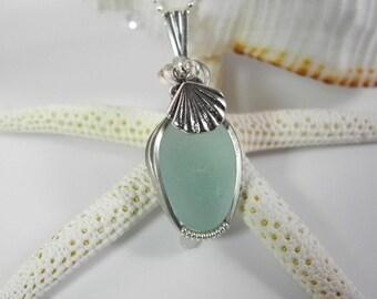 Aqua Sea Glass Pendant, Beach Glass Necklace, Seaglass Bridal Jewelry, Wedding Jewelry, Sterling Shell Necklace, Sterling Shell Charm