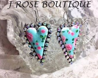 Sterling Silver Shabby Chic Turquoise Hot Pink Rockabilly Rose Heart earrings Quilt Western Diva