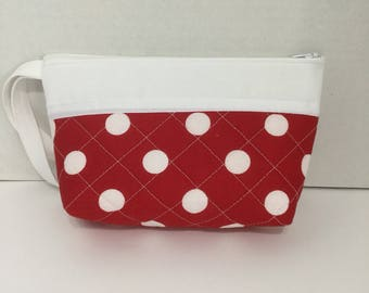 Polka Dot Cosmetic Bag - Polka Dot Pencil Case - Zippered Pouch - Pencil Case - Toiletry Bag - Makeup Bag - Travel Bag