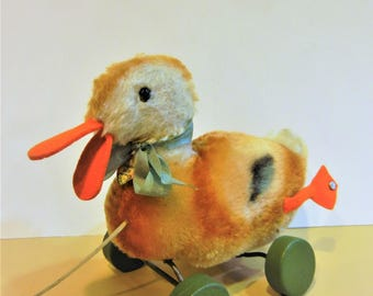 Steiff Vintage Antique Duck Pull Toy IDs Handmade 1949-64 Collectible Art Toy Doll ExCond. RARE !