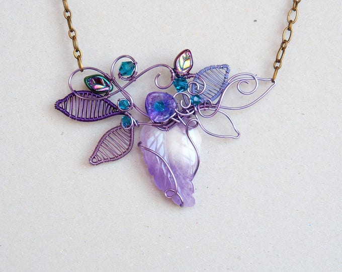 Amethyst leaf necklace ~ Handmade ~ Wire wrapped jewelry ~ Original design