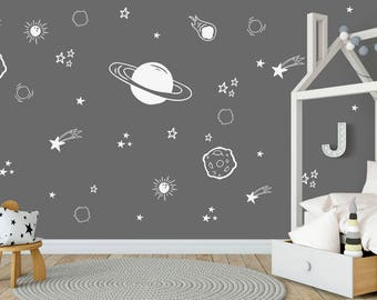 Planet Wall Decal, Boys Room Decor, Space Wall Decals, Outer Space Decal,