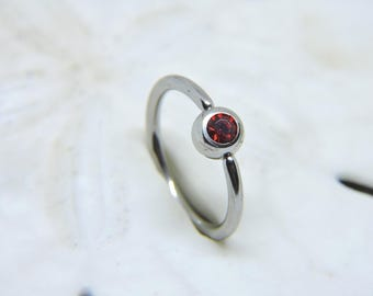"""Belly Button Ring - Body Jewelry - Captive Bead Ring Belly Ring - Ruby Red Belly Rings - CBR 16 or 14 Gauge 3/8"""" 7/16"""" 1/2"""" 5/8"""""""