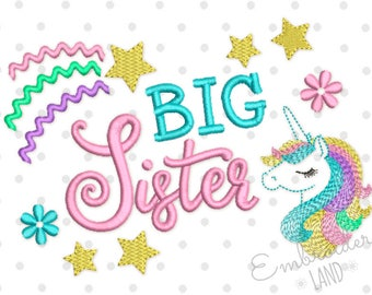 Unicorn Big Sister Machine Embroidery Design 5x7 6x10 hoop SA010