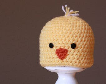 READY TO SHIP | Size 0-3m | Crochet Hat | Baby Chick Beanie
