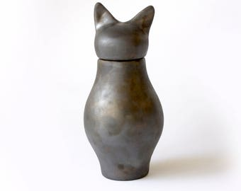 Basst Cat Urn - Rhodium