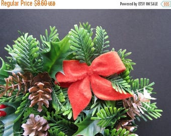 ON SALE Vintage Package Topper // Retro Flocked Red Bowtie, Plastic Pine Branches, Glittered Pinecones Christmas Present Topper Holiday Deco