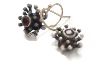 Oxidized Silver Flower Earrings, Ruby Red Garnet  Earrings, Starburst Earrings Artisan Handmade  by Sheri Beryl