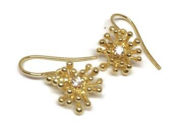 14K Solid Gold Starburst Earring Drops , Small  Gold  Diamond Earrings, , Starburst Dangle Earrings, Artisan Handmade by Sheri Beryl