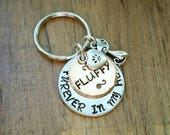 Furever in my Heart Cat Keychain, Cat Lover, Loss of pet, Cat Jewelry, Personalized Cat, Key Chain, Hand Stamped, Custom Jewelry, Pet Loss