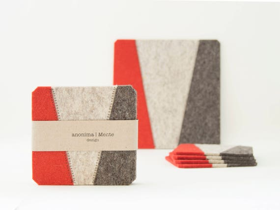 Set of felt coasters / square coasters / grey and orange / modern home design / wool felt / gift idea / made in Italy