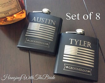 Set of 8 Personalized Flask Groomsmen Gift Box - Groomsmen Flask Set - Gifts for Groomsmen - Monogram Flask - Custom Flask Set for Groomsmen