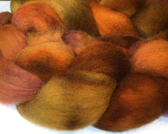 100% Falkland Island Fine Wool Top / Roving 4 oz Color Winery - Free Shipping