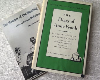 The Diary of Anne Frank Vintage Play Script The Member of the Wedding Play Two Books Carson McCullers Women's Lit Drama Coming of Age Book