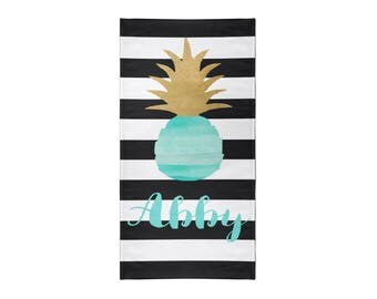 Black and White Stripe Pineapple Personalized Beach Towel